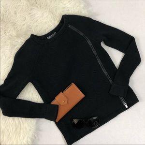 VINCE Asymmetrical zip sweater - Black